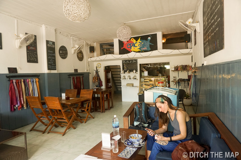 Eating at Epic Arts Cafe in Kampot, Cambodia