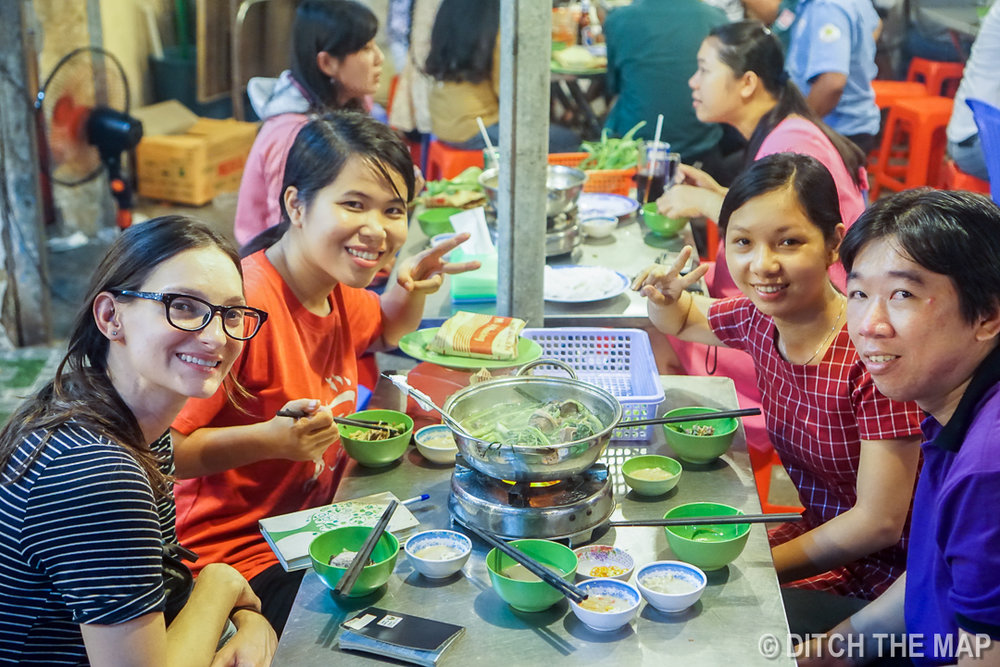 Eating Hotpot with our New Friends in Can Tho, Vietnam