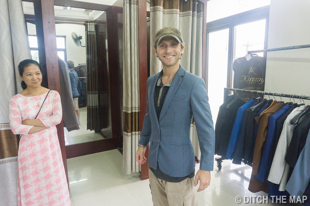 First Fitting of my Blue Sports Coat at Kimmy Tailor in Hoi An, Vietnam