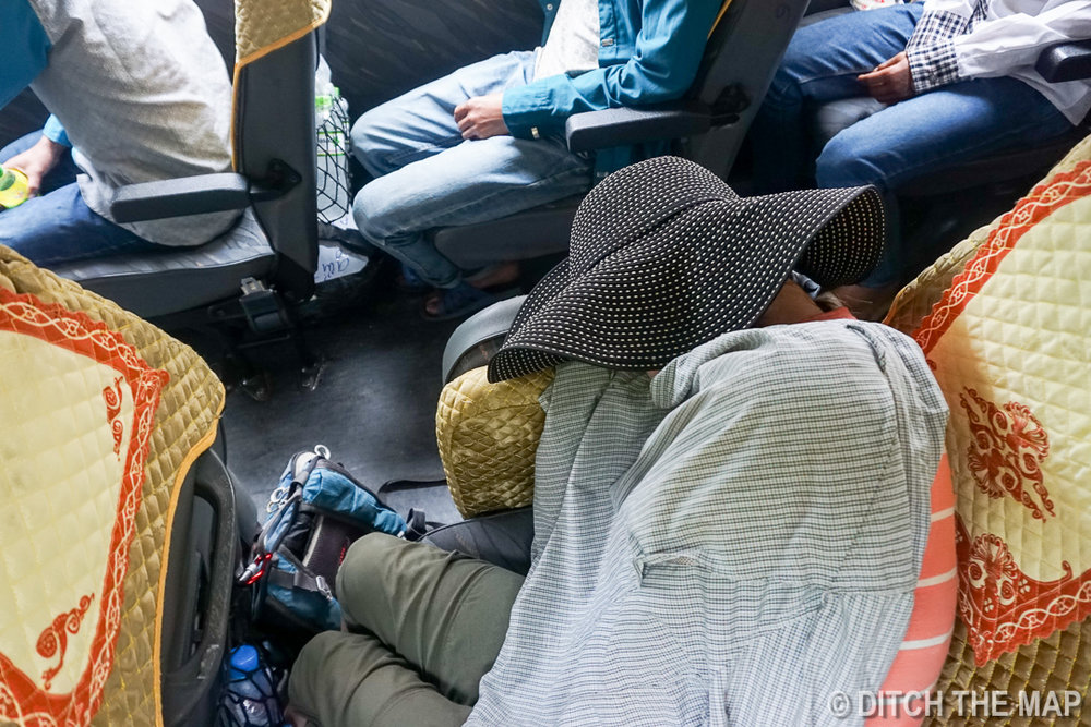 Trying to Sleep on the Bus to Dong Van, Vietnam