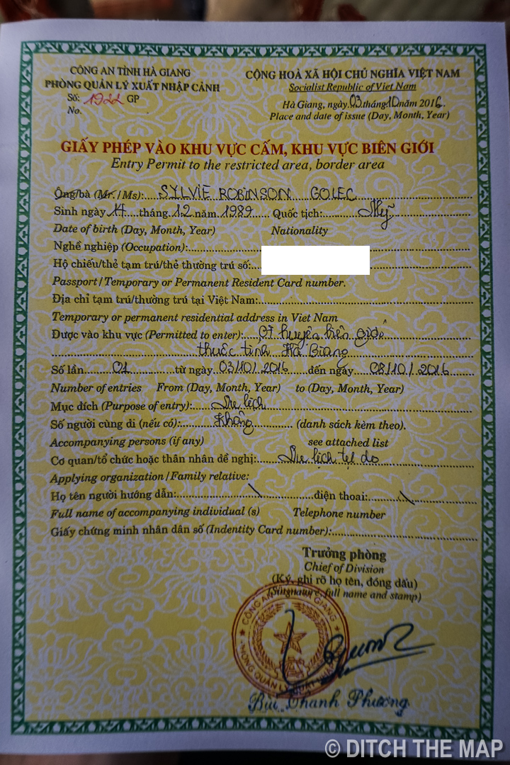 Required Permit for Restricted Area in Northern Vietnam