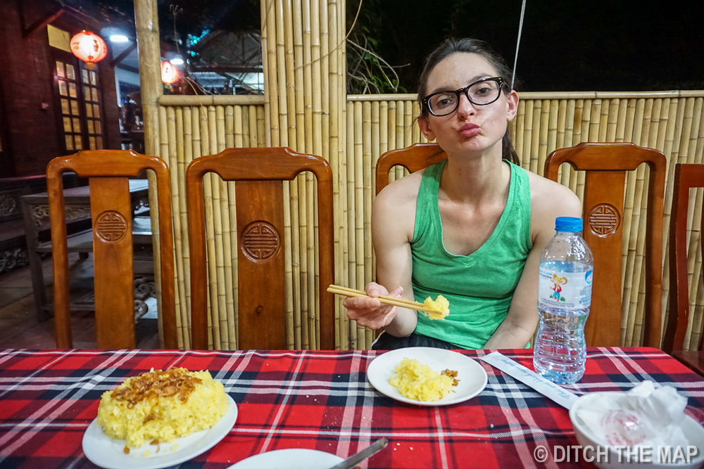 Sylvie Steps up and Tries the Sticky Rice with Snake Fat