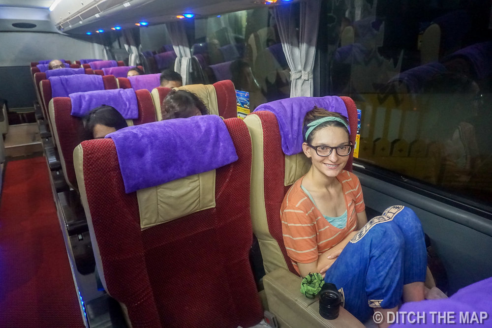 Bus from Yangon to Bagan, Myanmar