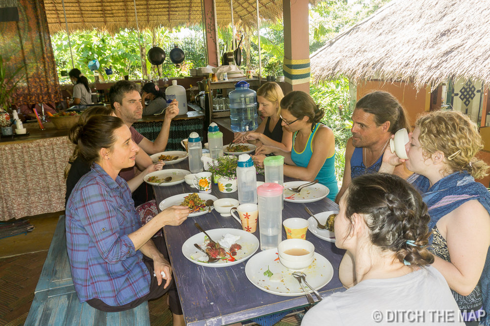 Having Lunch at Xhale Yoga Retreat, Pai, Thailand