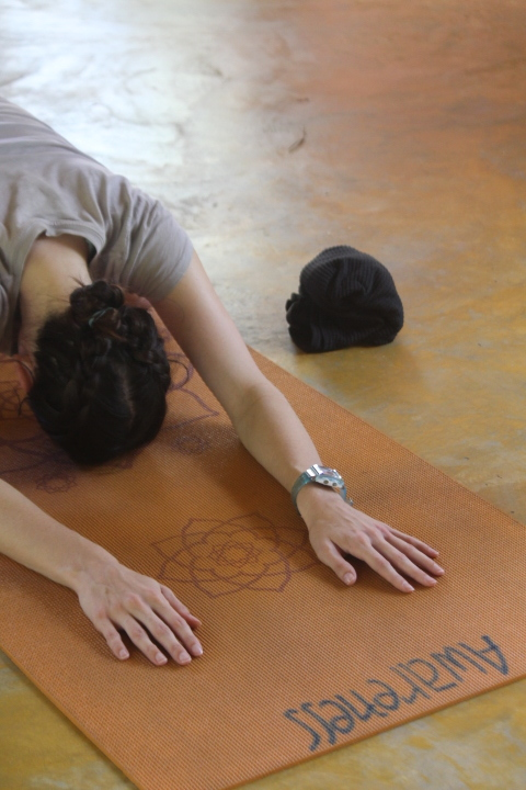 Child's Pose at Xhale Yoga Retreat, Pai, Thailand