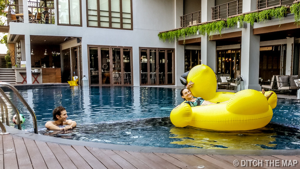 Relaxing by the Hotel Pool in Bangkok, Thailand
