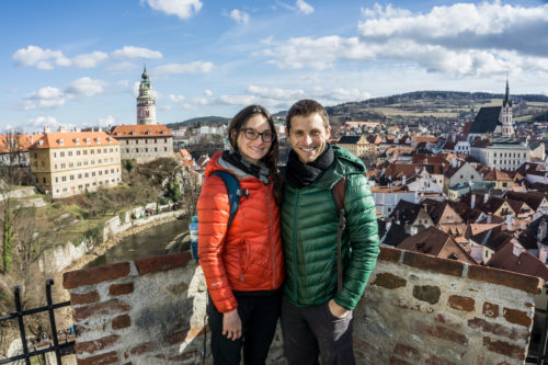 Overlooking the quaint town of Cesky Krumlov, Czech republic