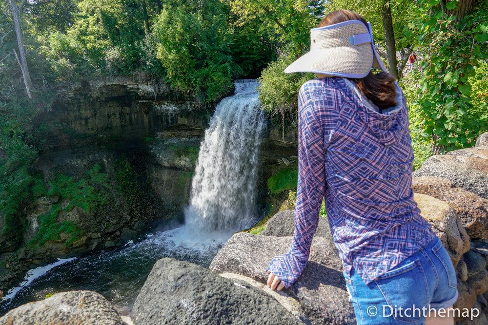 Sylvie overlooking Minnehaha Falls, MN