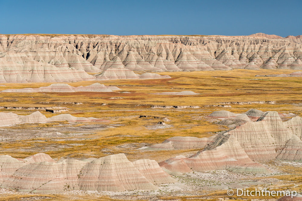 Panoramic View of Badlands Geological Features
