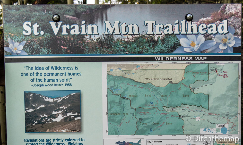 Map of Saint Vrain Mountain Trail in Roosevelt National Forest