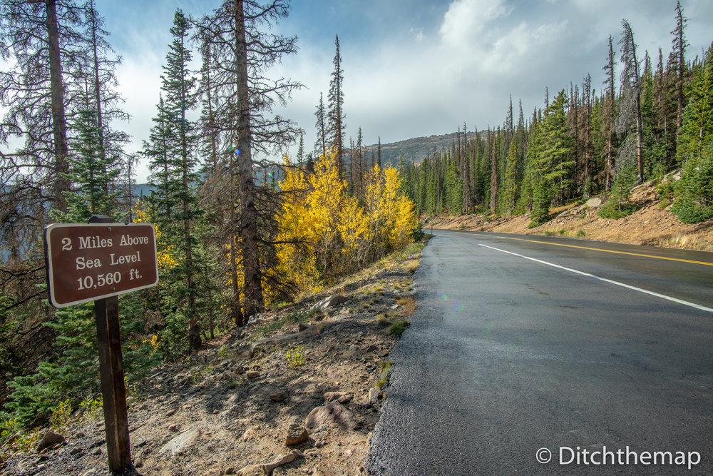 Driving along the beautiful Trail Ridge Road