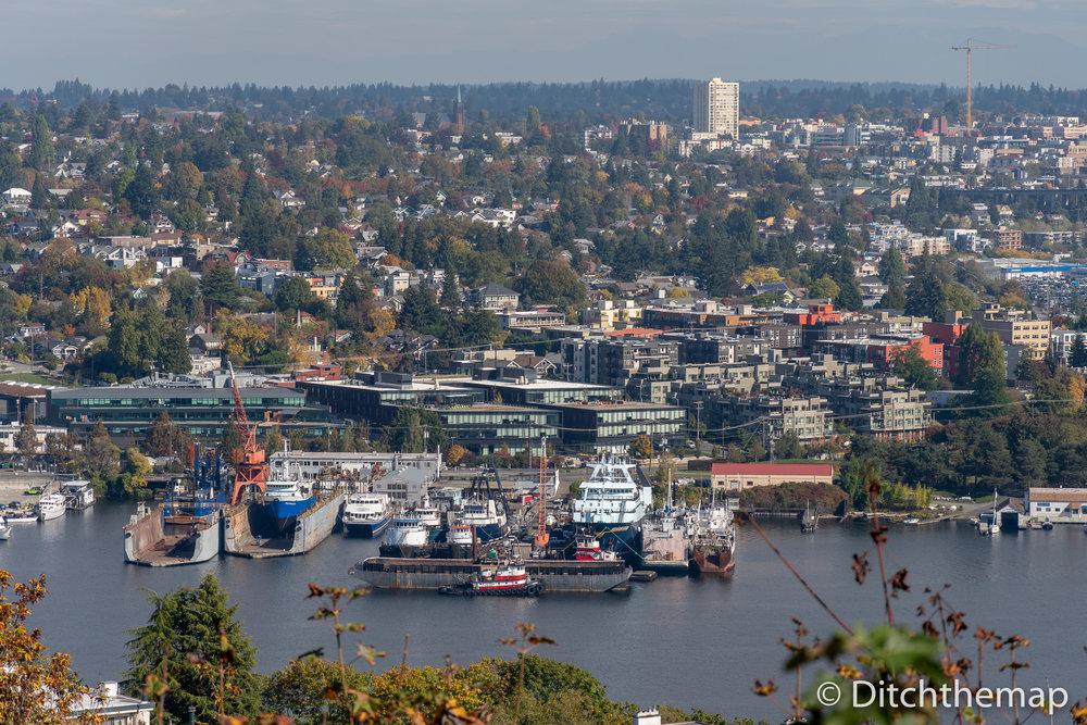 Overlooking Puget Sound in Seattle, Washington