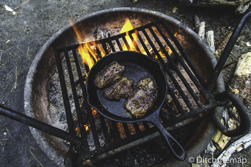 Grilling Beef Steak on Fire