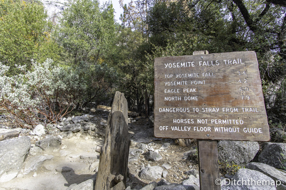 Trekking Sign Post - Yoemite Falls Trail