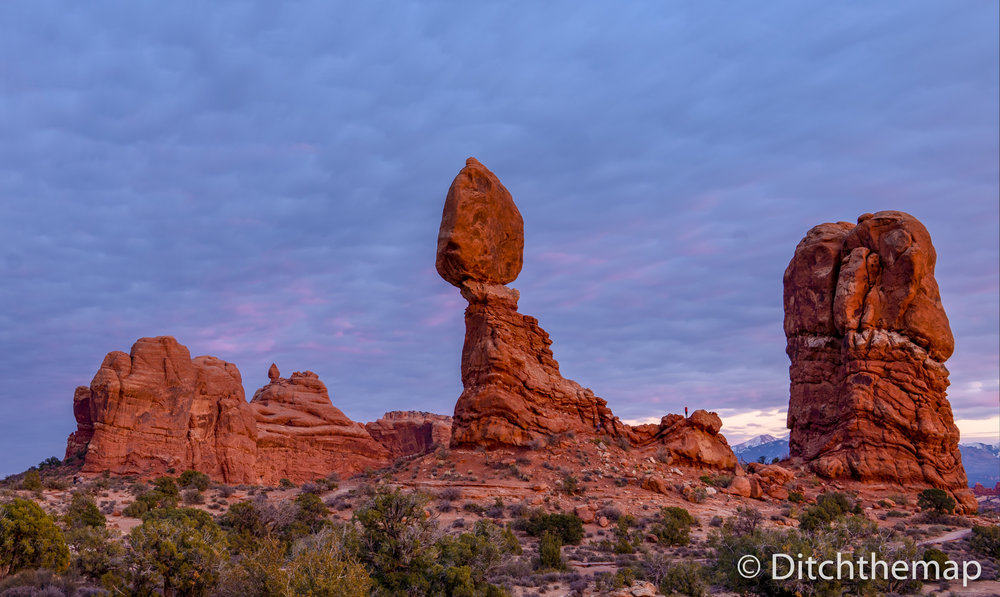 Sunset at Balanced Rock in Arches