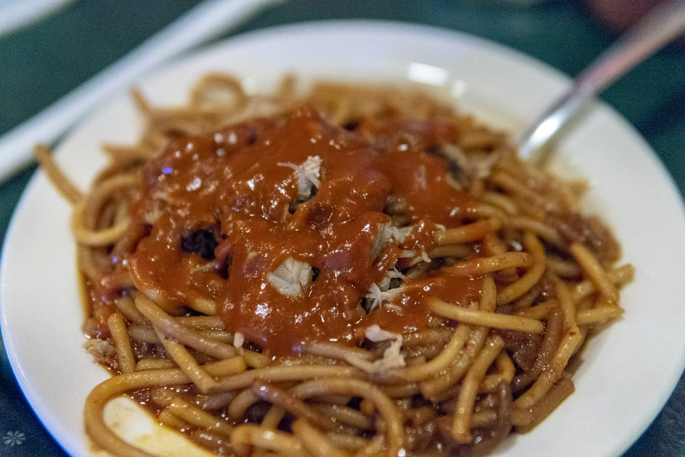 Barbeque spaghetti and pulled pork