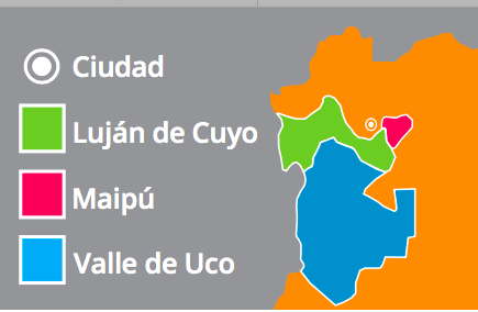 WINE GROWING REGIONS WITHIN MENDOZA PROVINCE