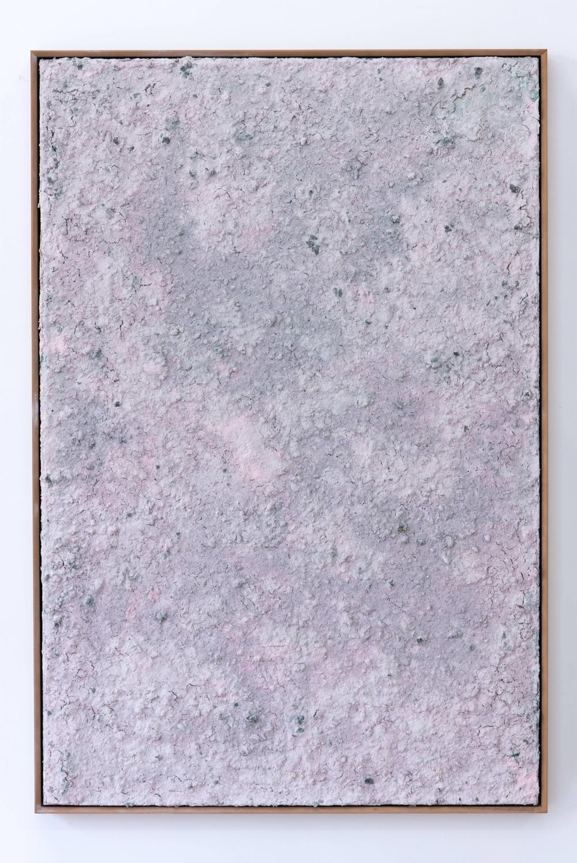 Kadar Brock residuumiii,2013-2014 Pulverized paintings, urethane, fiberglass mesh on panel, mdf frame, 61 ½x 41 ½x 4 inches