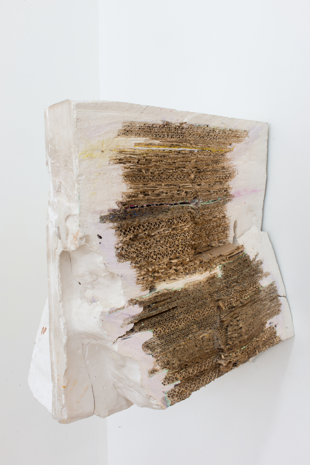 John Henry Donner   Untitled ,  2016  Plaster, cardboard, latex, bondo, found objects 36 x 22 x 24 inches (dimensions variable)