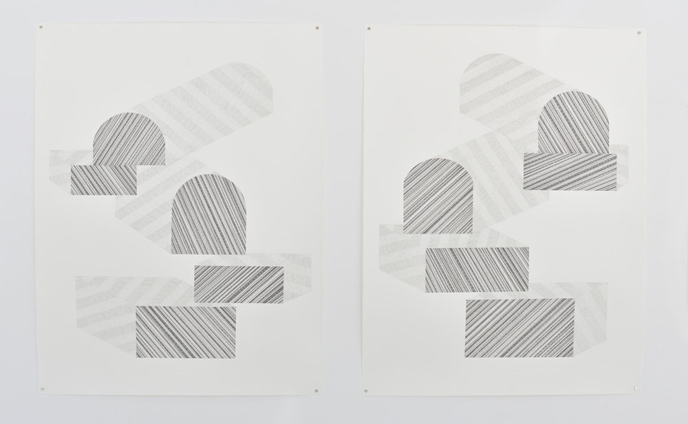 left: Stripe Two, 2015, right: Stripe One, 2015 Graphite on paper, 38 x 50 inches