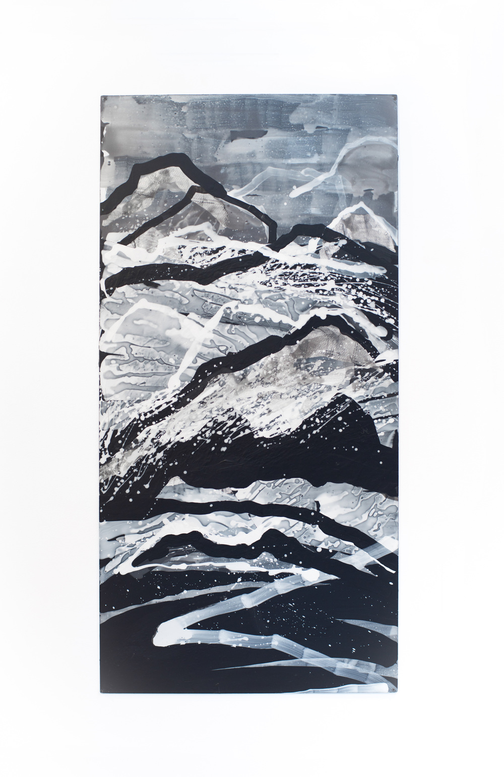 Nancy Manter    Endless Landscape #4  , 2012   Collage, distemper on aluminum panel  60 x 40 inches
