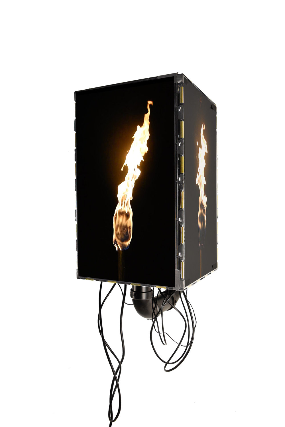 Torch I, 2016 4 channel HD video (seamless loop), 4 LED display screens, wood, steel, PVC, rubber, 28 x 13 x 20 ½ inches (dimensions variable)