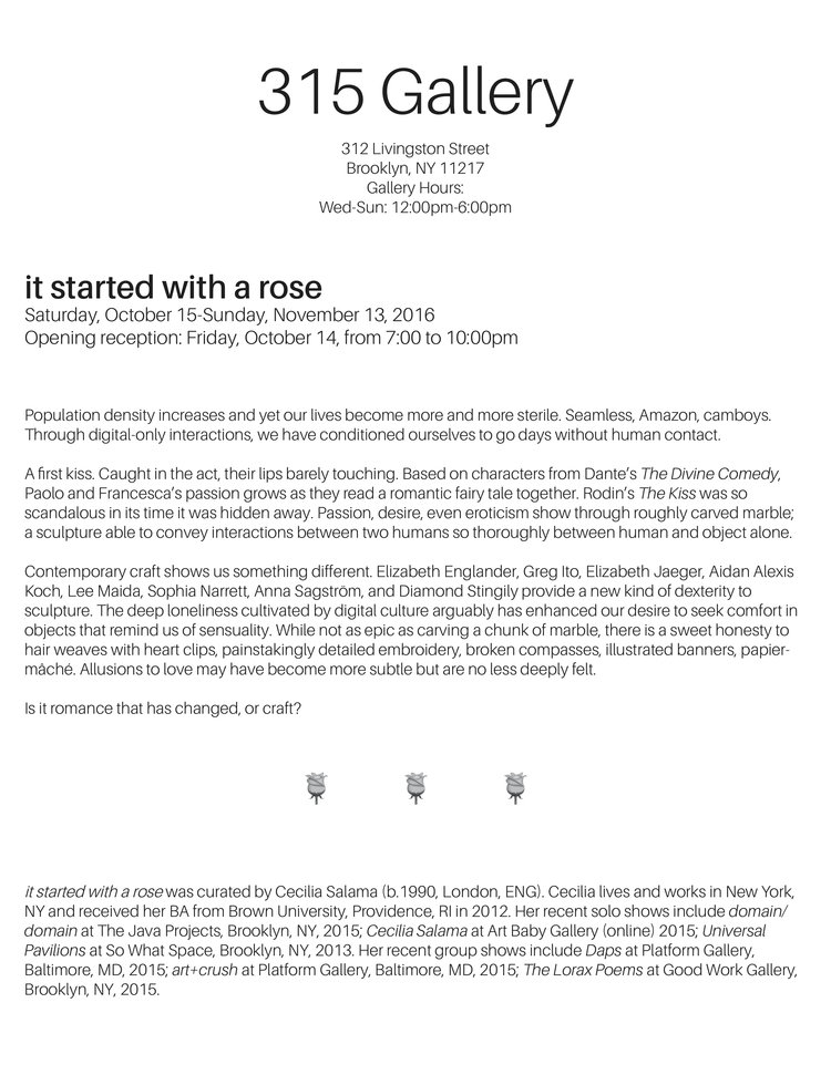 It Started With A Rose Press Release 315 Gallery