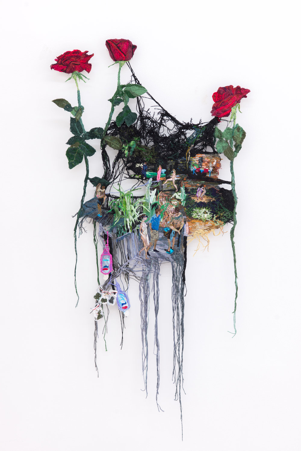 Sophia Narrett VR Experience Option 1-Date Night, 2016 Embroidery thread, fabric, and aluminum, 40 x 19.5 inches