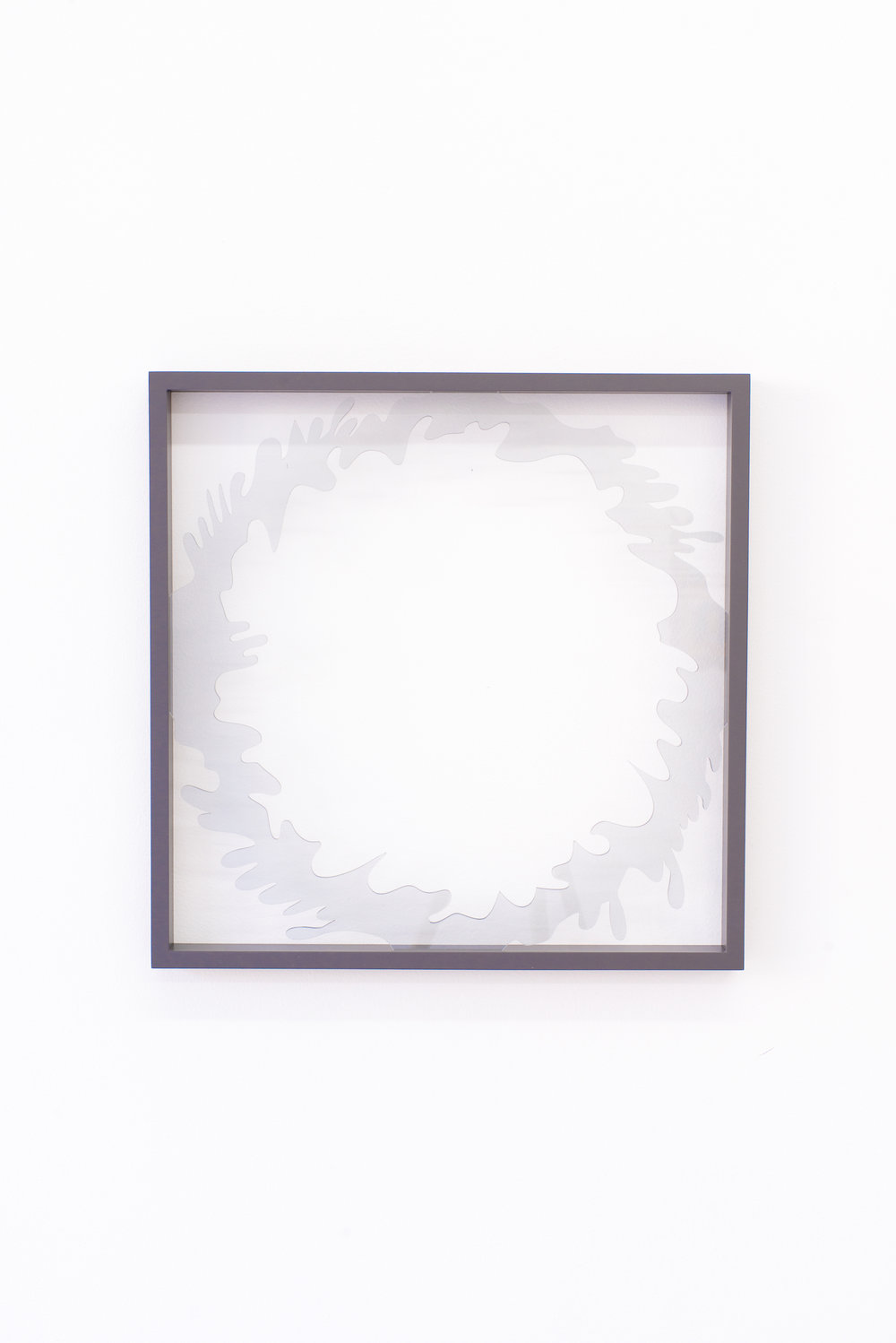 Anna Sagström (You gave me a ring of glass) And it broke and love ended, 2016 Acrylic glass, painted frame, 15.75 x 15.75 inches