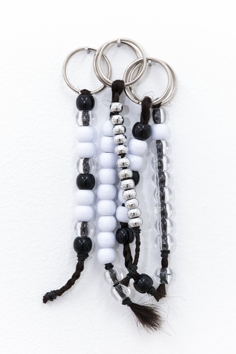 Diamond Stingily Keychains, 2015 Kanekalon hair, beads, elastic, silver keys rings, dimensions variable