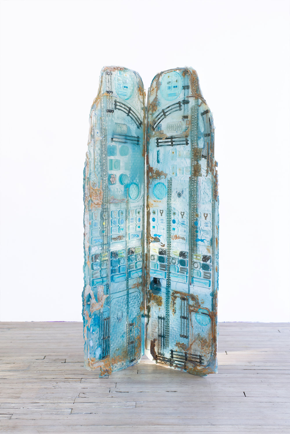 Amy Brener    Dressing Screen (Larimar),  2017 Urethane resin and foam, plaster, pigment, found objects 66 x 29 x 16 inches