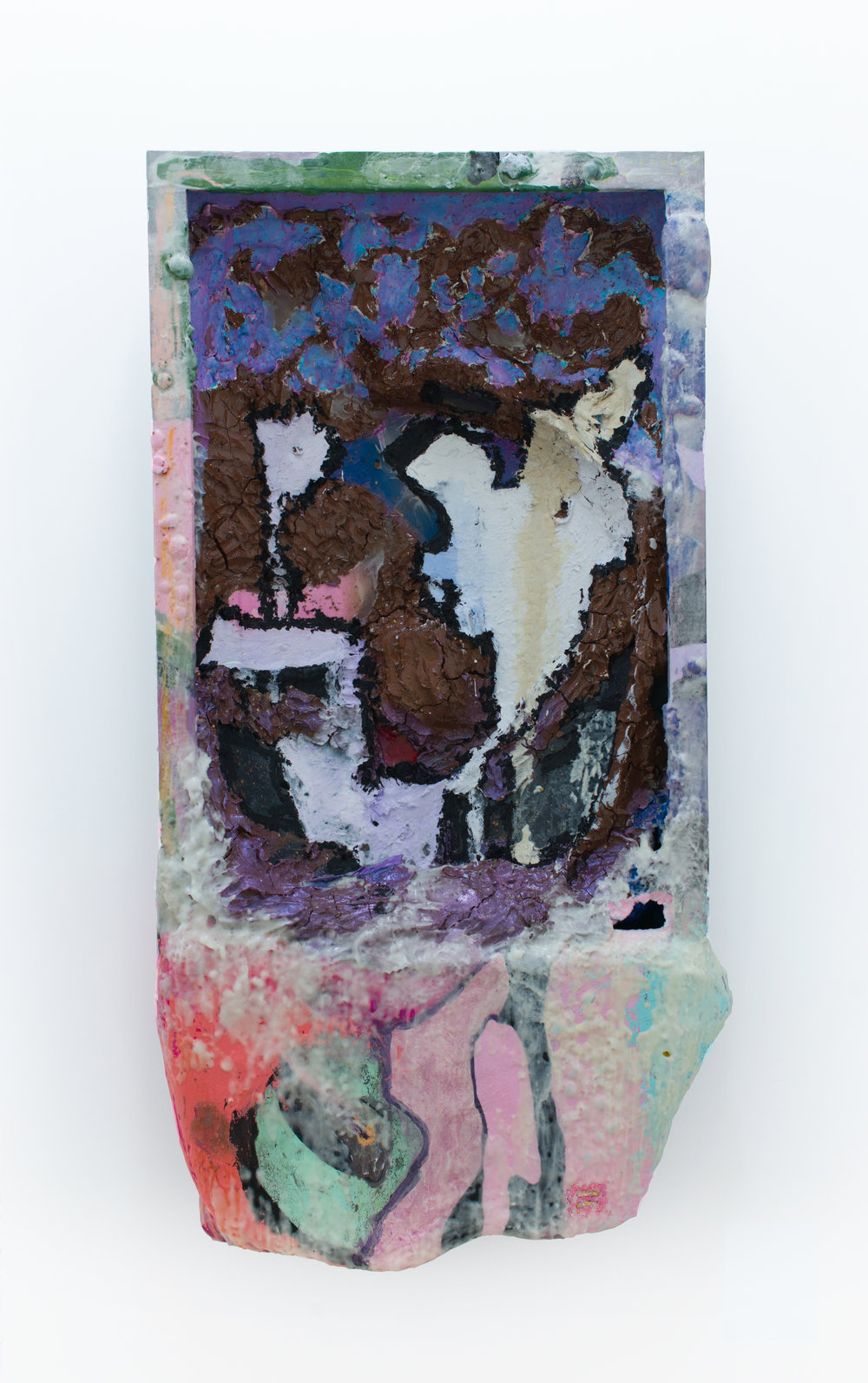 Mark Starling   Red Hot Wave Rider,  2017 Crushed red pepper flakes, dye, clay, resin, oil paint, oil stick, acrylic, wax, colored pencil, polyurethane and iridescent powder on steel casket lid 56 x 30 x 8 inches