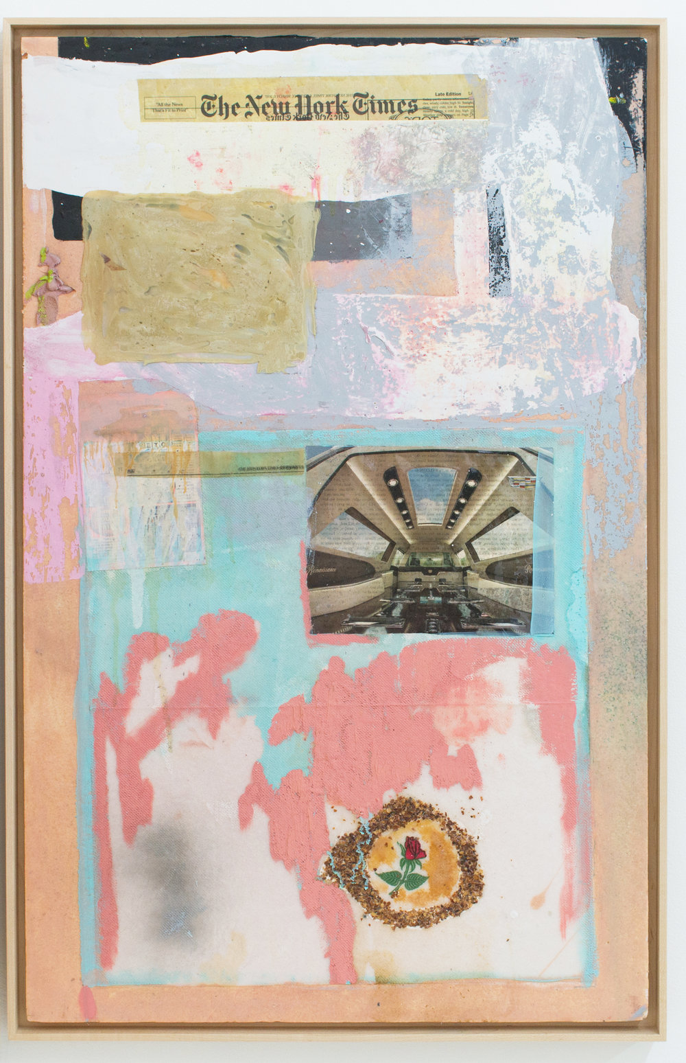 Mark Starling   Spicy Obit,  2017 Rose printed napkin, crushed red pepper flakes, dye, lottery ticket, newspaper, magazine, oil paint, acrylic paint, resin, industrial adhesive and polystyrene mounted on masonite 35 x 22 x 1.5 inches