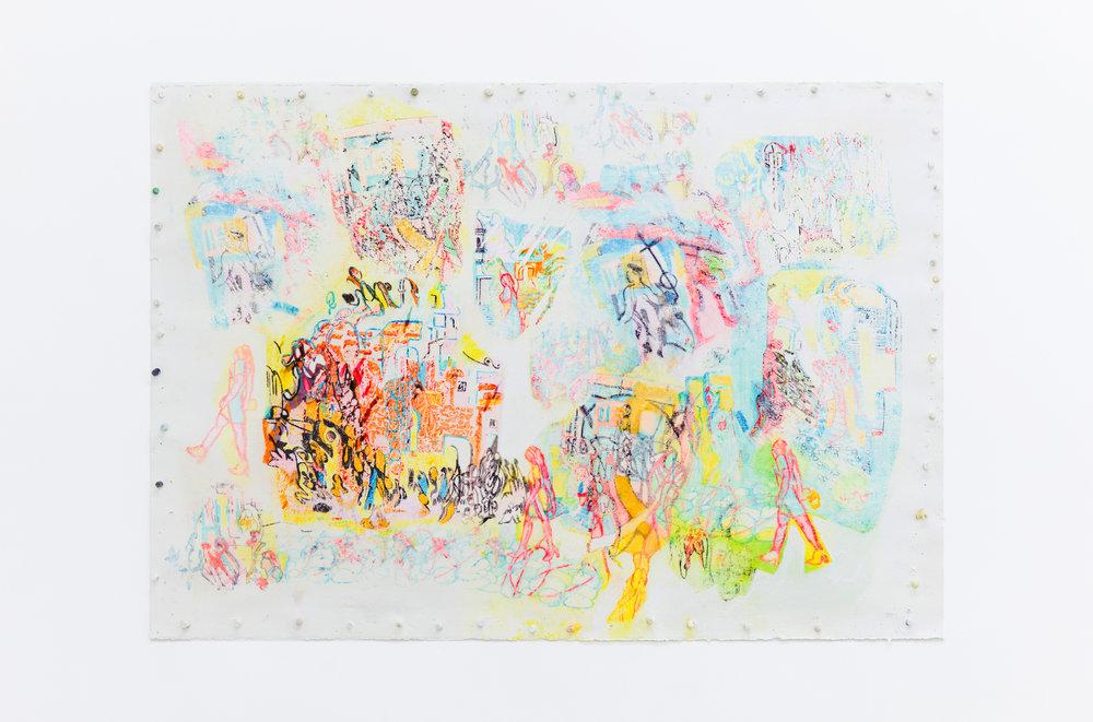 Marlene Frontera   Landadora,  2016  Mixed media and acrylic on paper 30 x 44 inches