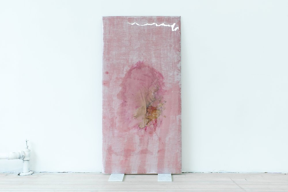 Quay Quinn Wolf, Selection No.2, 2018, Red carnation and lily pigments on pink velvet, padding, wood, soft PVC sheet, marble tiles 48x24x12inches
