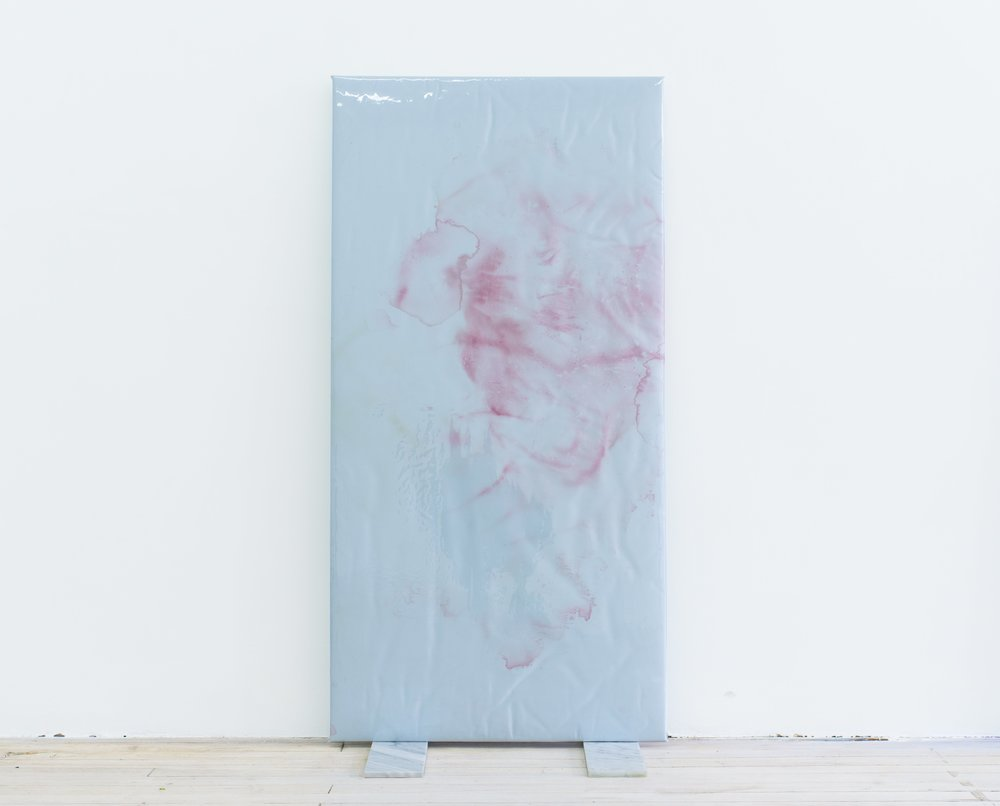Quay Quinn Wolf, Selection No.1, 2018 Red carnation pigments on blue satin, padding, wood, soft PVC sheet, marble tiles 48x24x12inches