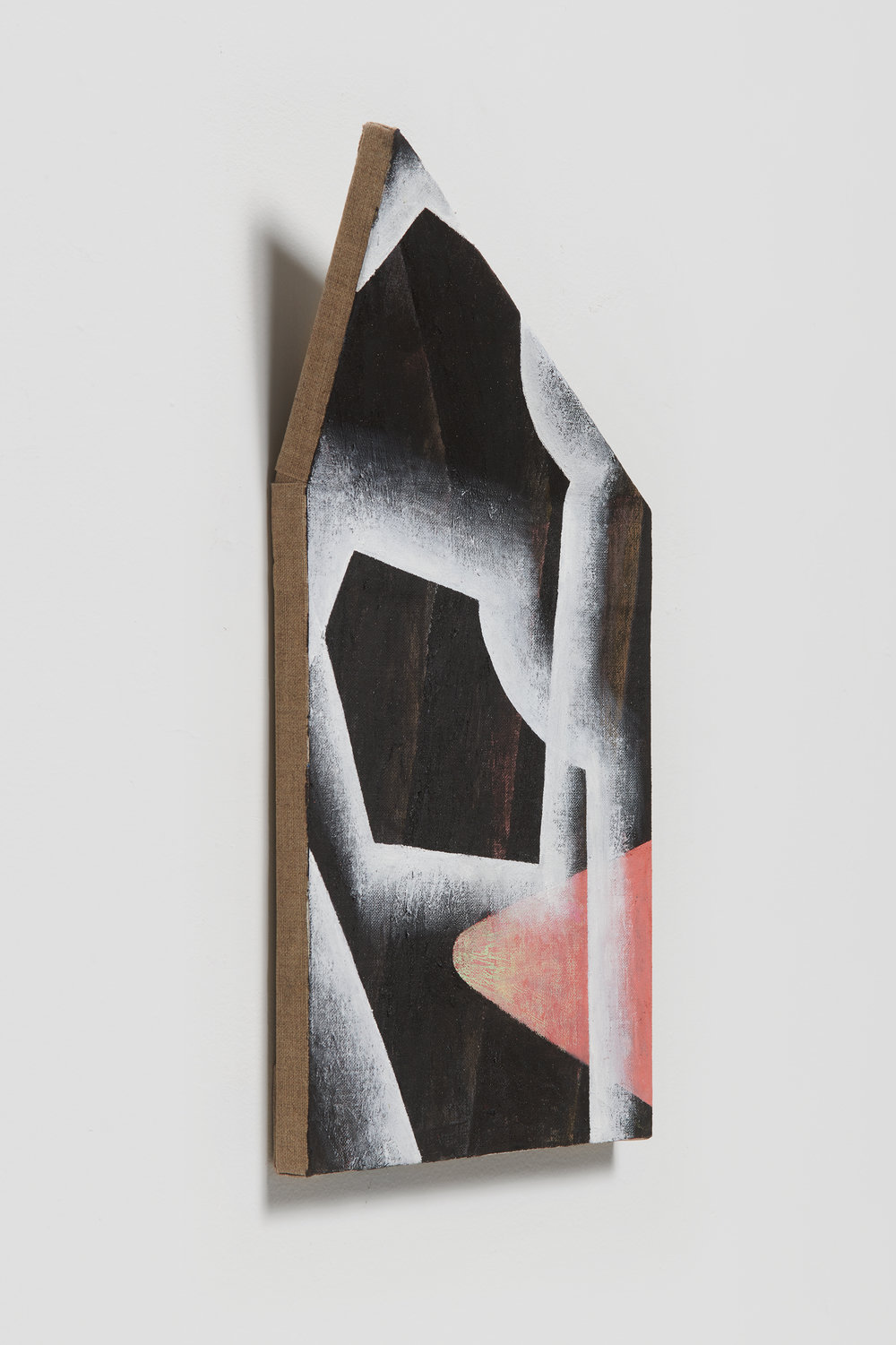 Ezra Tessler, The Unreleyeable Organ , 2018 Oil and dirt on linen on shaped wood 17 x 9 x 3 inches