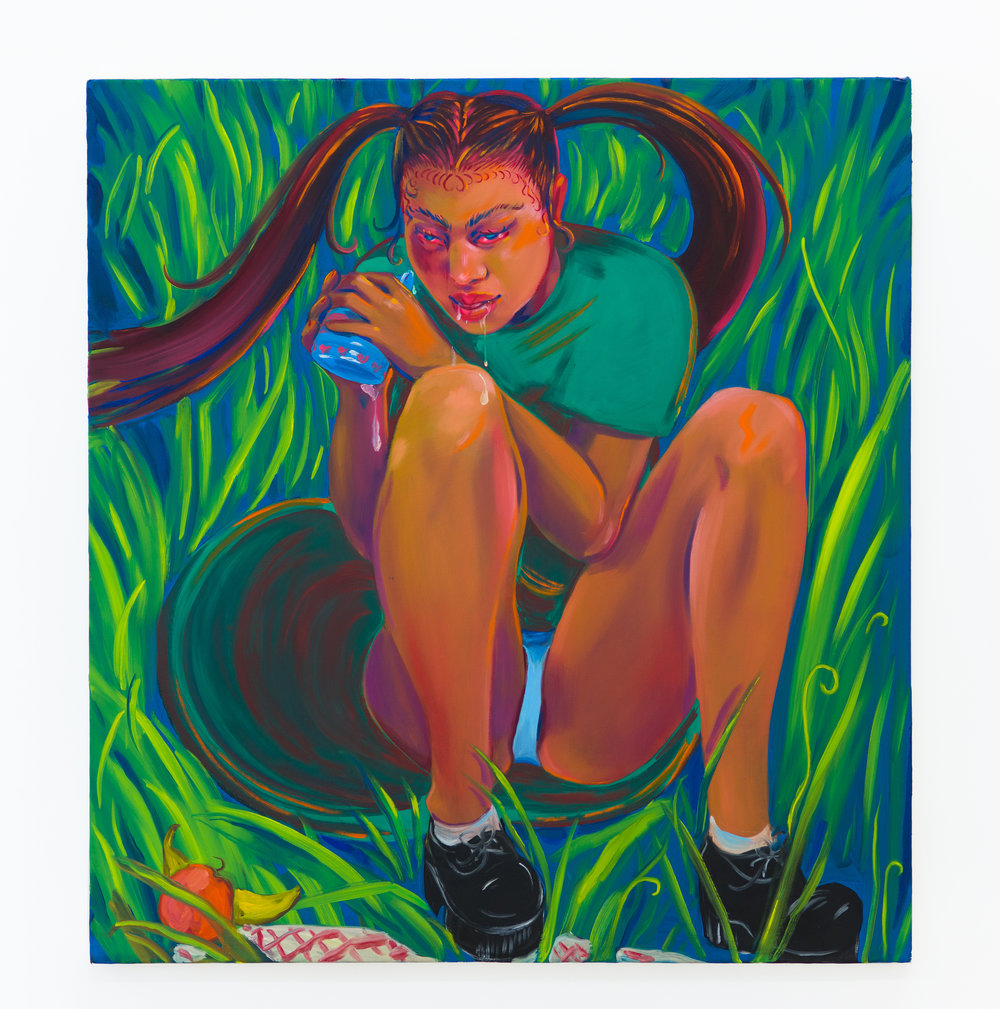 Haley Josephs   Sippy Cup Girl,  2018 Oil on canvas 42 x 39 inches