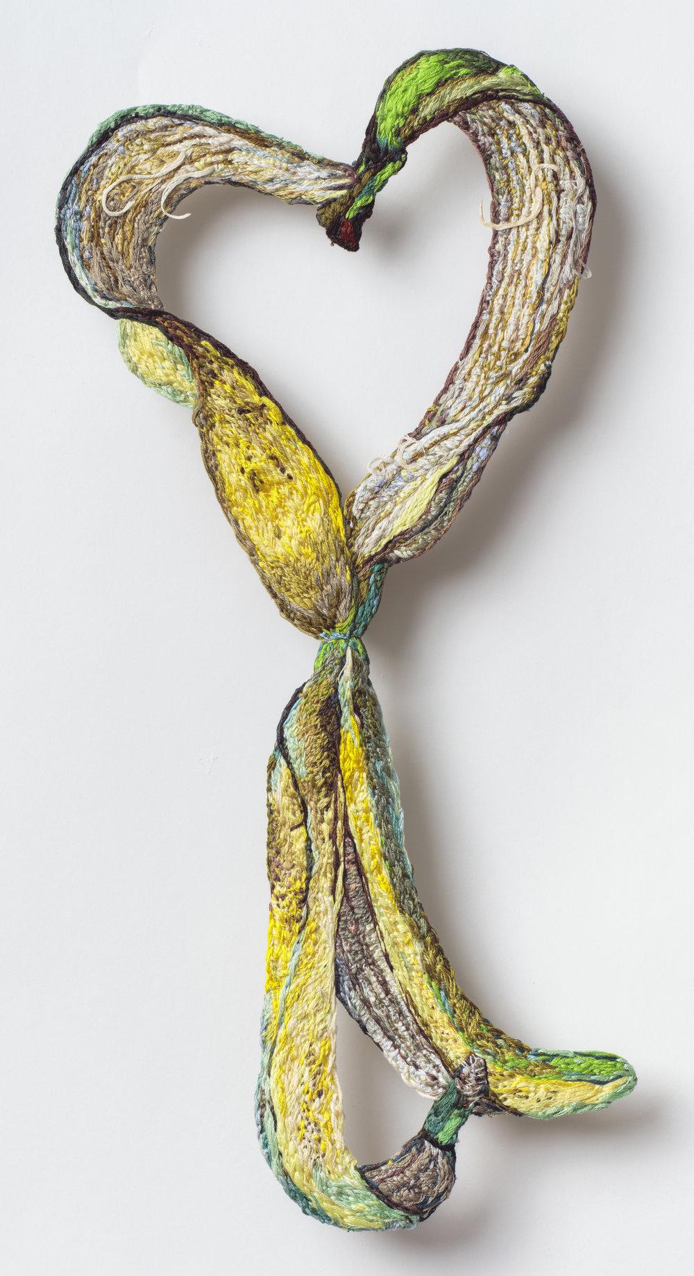 Peel, Sophia Narrett, 2019, Embroidery Thread, Aluminum, Fabric, 7 x 15 inches.jpg