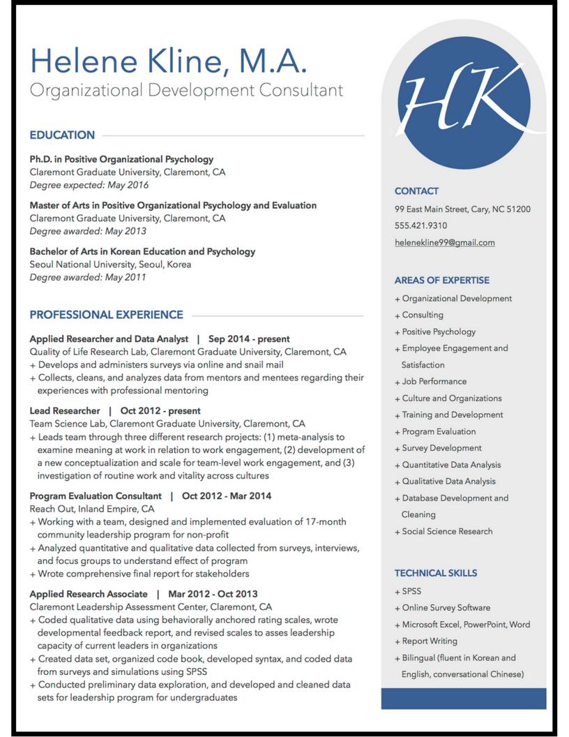 organizational development resume