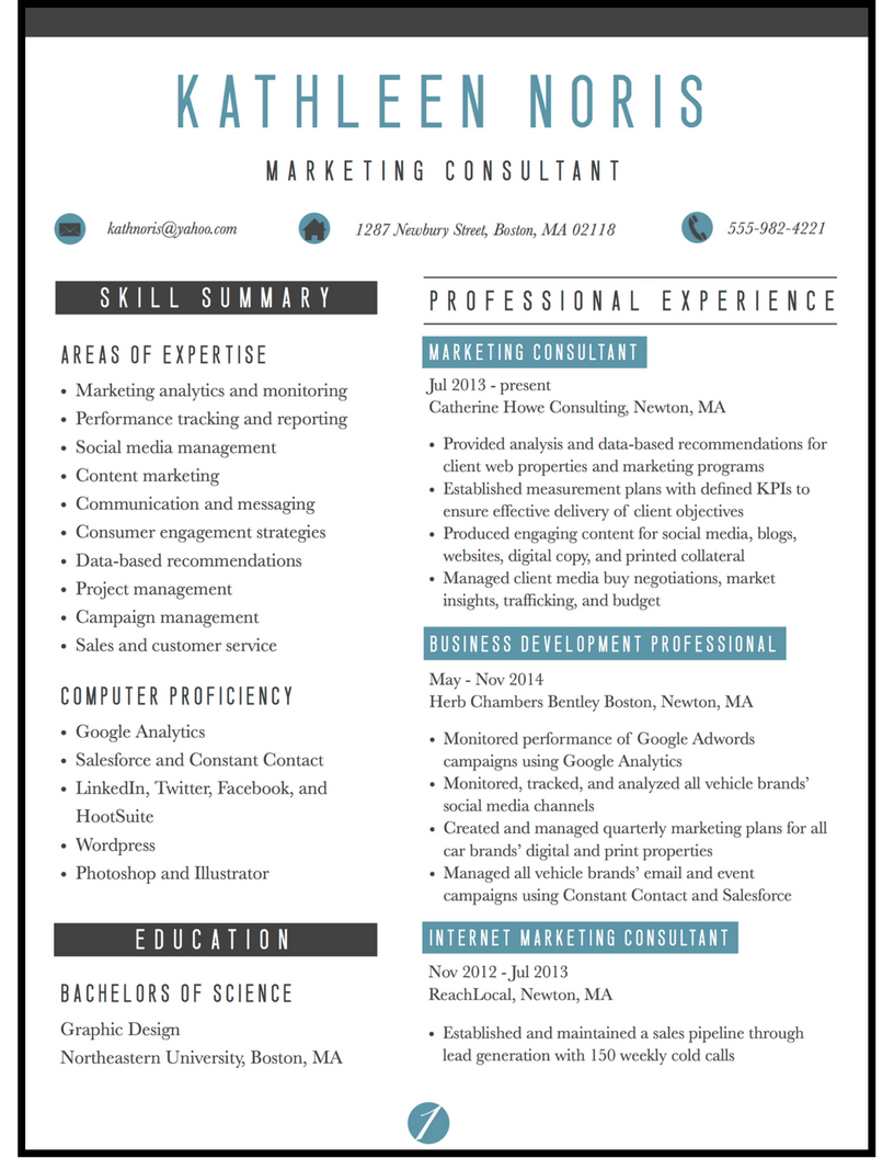 marketing consultant resume