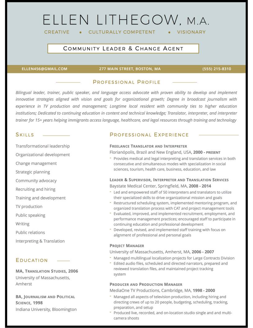 community leader resume