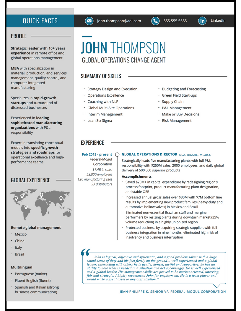 global operations manager resume