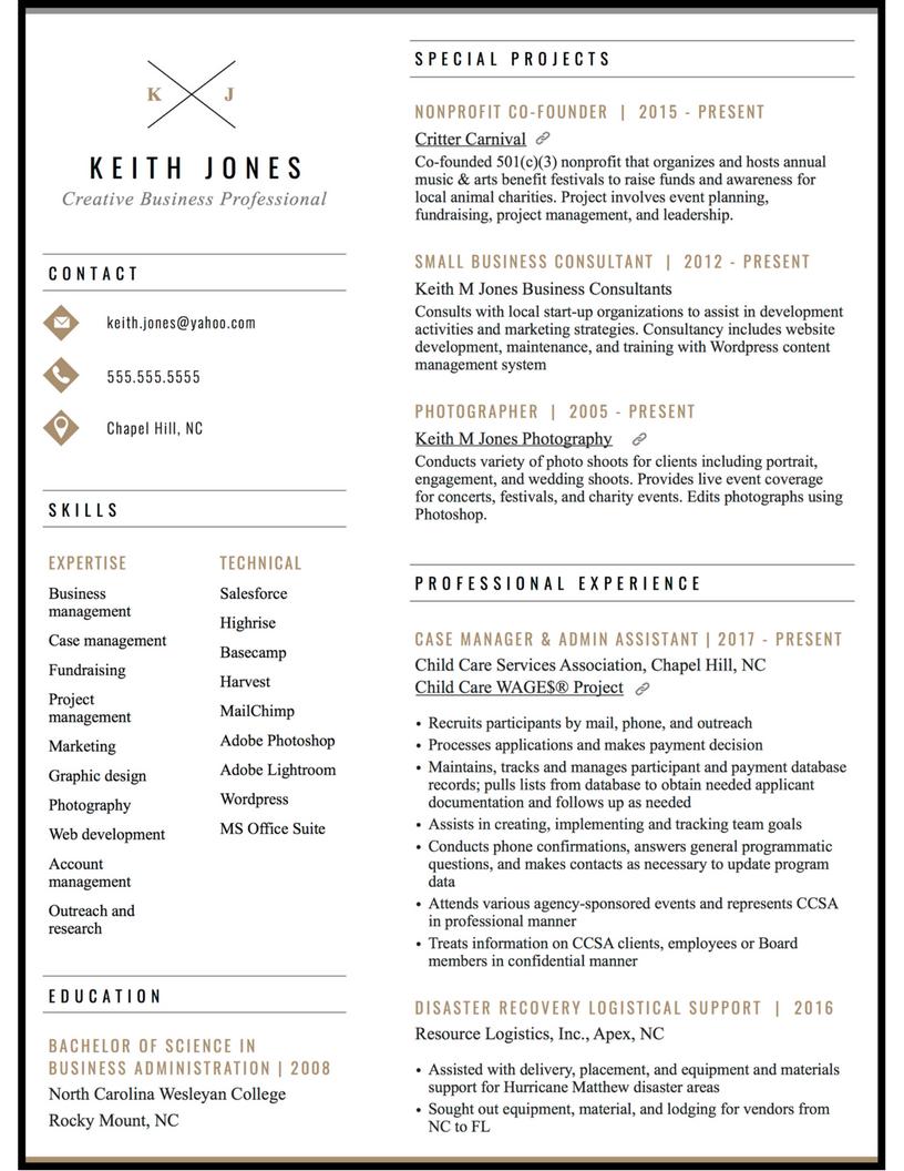 creative business resume