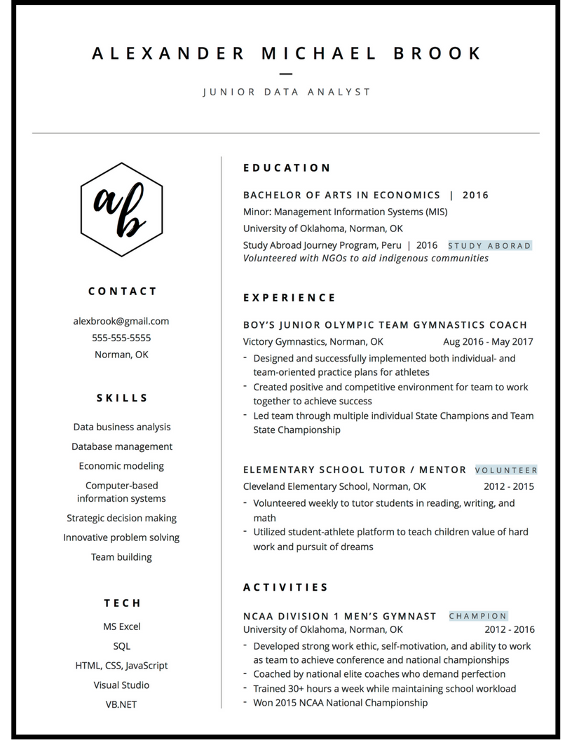new grad resume