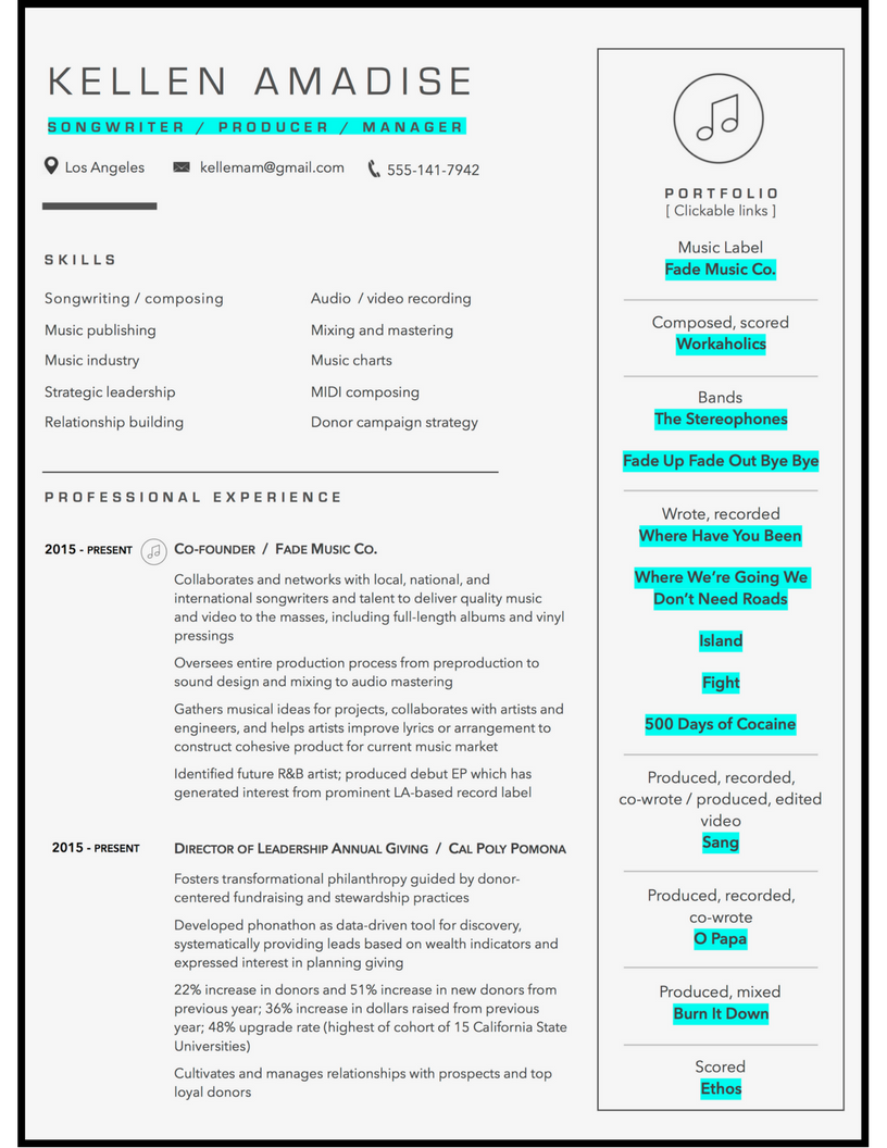 music composer resume