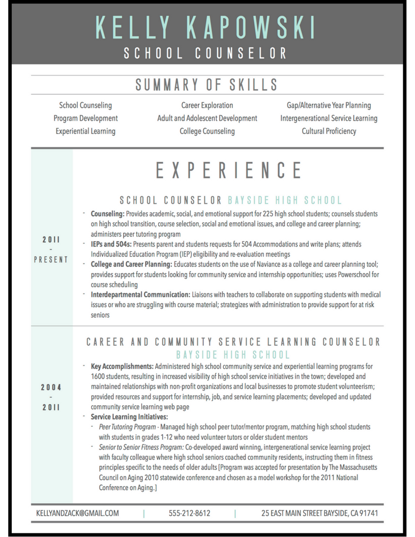 school counselor modern resume