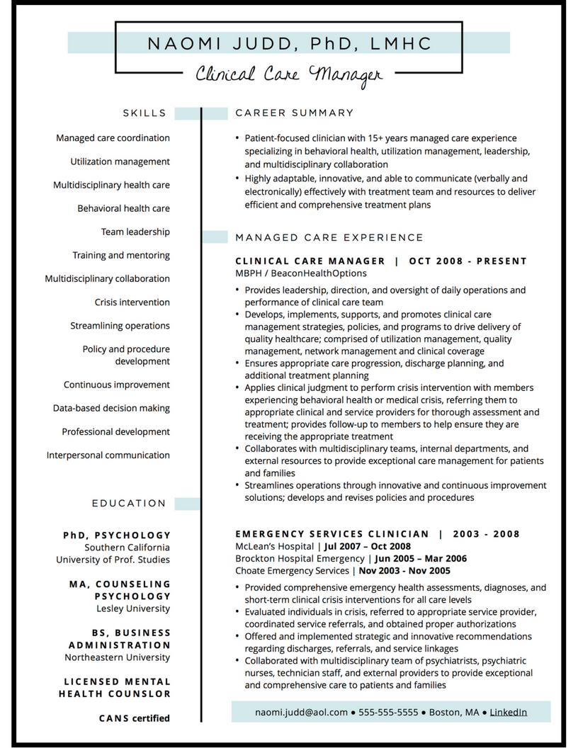 Managed care resume