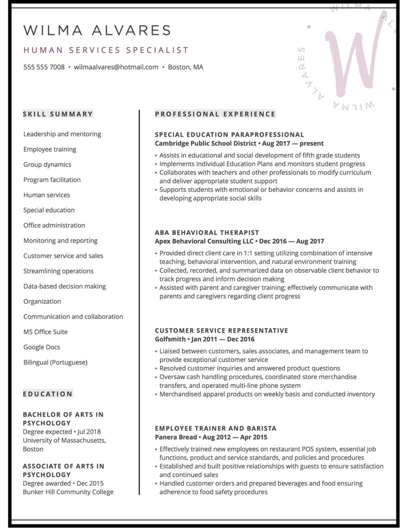 resume for HR