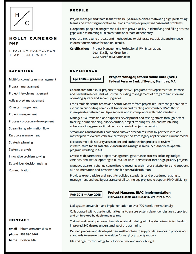 Project manager minimalist resume